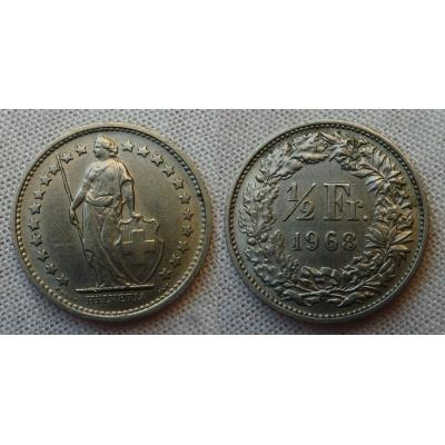 Švýcarsko - 1/2 Frank 1968