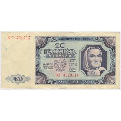 Polsko - bankovka 20 zlotych 1948