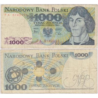 Poland - 1000 zlotych 1982 banknote