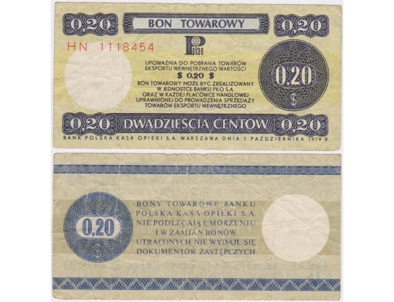 Bon towarowy 20 centů 1979