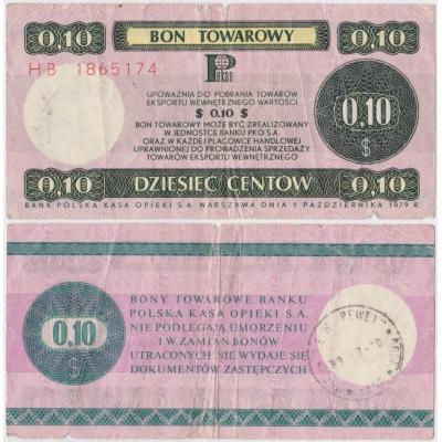 Bon towarowy 10 centů 1979
