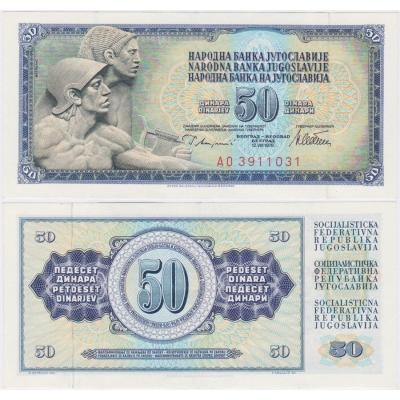 Jugoslávie - bankovka 50 dinárů 1978
