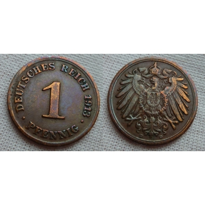 1 Reich Pfennig 1913 D