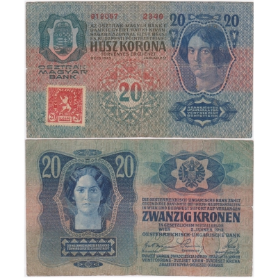 20 korun 1913, zoubkovaný kolek
