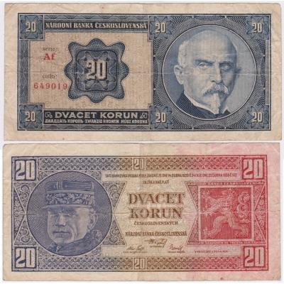 20 korun 1926 neperforovaná, série Af