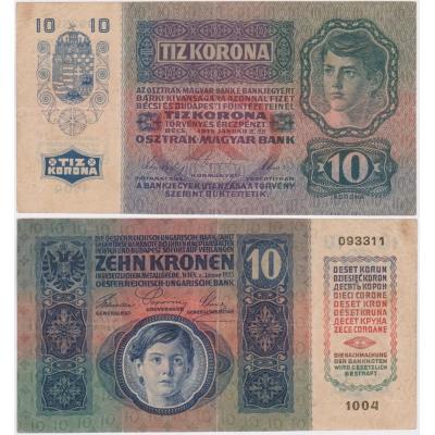 10 korun 1915, série 1004 bez přetisku