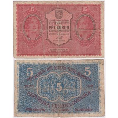 Tschechoslowakei - I. Ausgabe von Banknoten 5 Kronen 1919