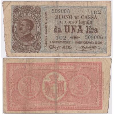 Itálie - bankovka 1 lira 1914