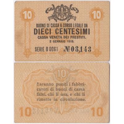 Itálie - bankovka 10 Centesimi 1918