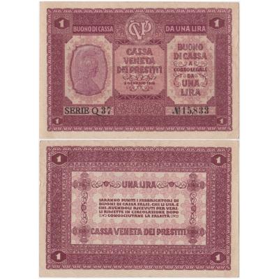 Itálie - bankovka 1 lira 1918