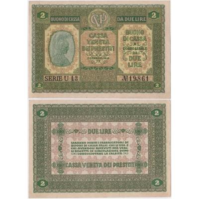 Itálie - bankovka 2 lire 1918