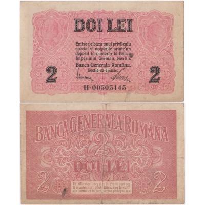 Rumunsko - bankovka 2 Lei 1917 - německá okupace