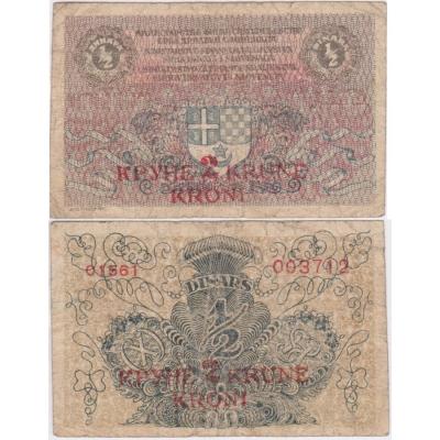 1/2 Dinar (přetisk 2 krone) 1919