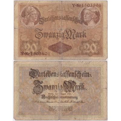 Německé císařství - bankovka 20 marek 1914