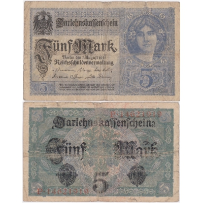 Německé císařství - bankovka 5 marek 1917