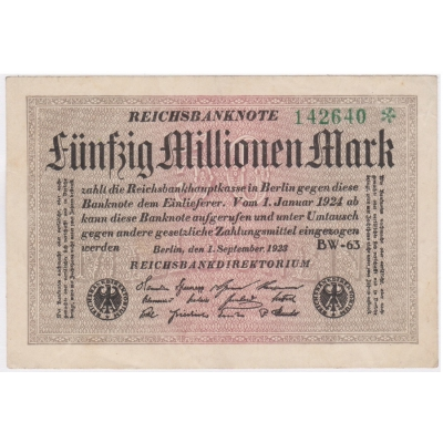 50 milionů marek 1923