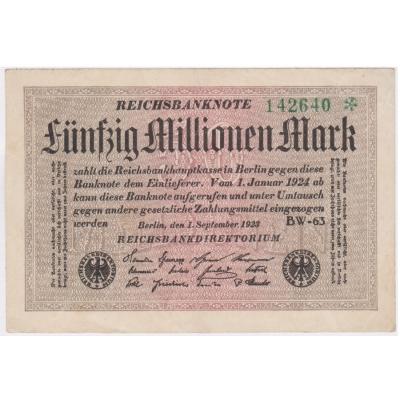 Německo - bankovka Reichsbanknote 50 milionů marek 1923