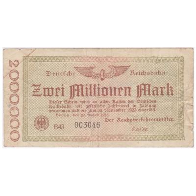 Německo - bankovka Deutsche Reichsbahn 2 miliony marek 1923