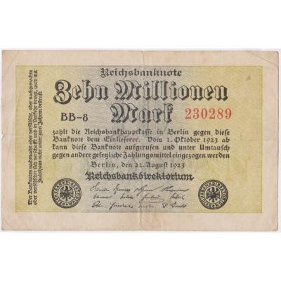 Německo - bankovka Reichsbanknote 10 milionů marek 1923