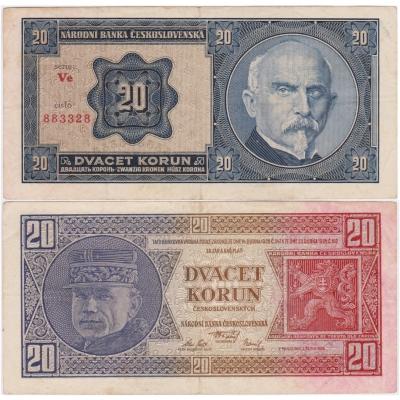 20 korun 1926 neperforovaná, série Ve