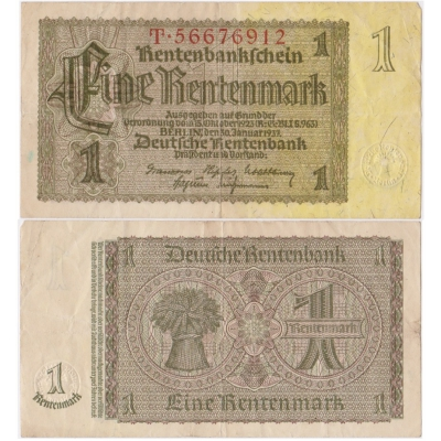 Německo - bankovka 1 Rentenmark 1937
