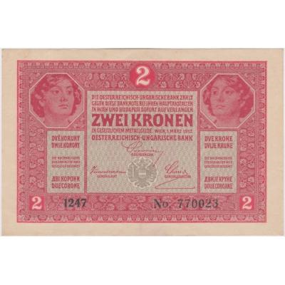 2 koruny 1917, bez přetisku, bez přehybu