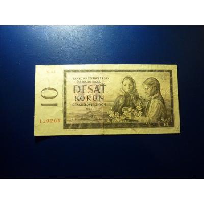 Česloslovensko - bankovka 10 Korun 1960, série E43