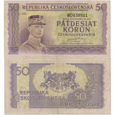50 korun 1945, neperforovaná, série MD