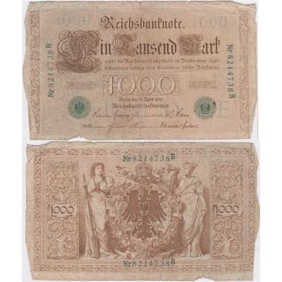 Německé císařství - bankovka Reichsbanknote 1000 marek 1910, zelené pečetě