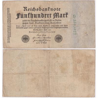 Německo - bankovka Reichsbanknote 500 marek 1922
