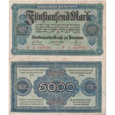 Německo - bankovka Sächsische banknote 5000 mark 1923