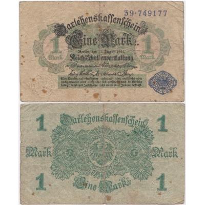 Německé císařství - bankovka Darlehnskassenschein 1 Mark 1914