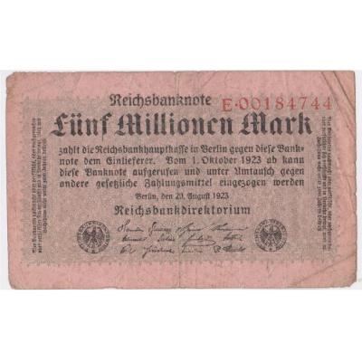 Německo - bankovka 5 millionen mark 1923
