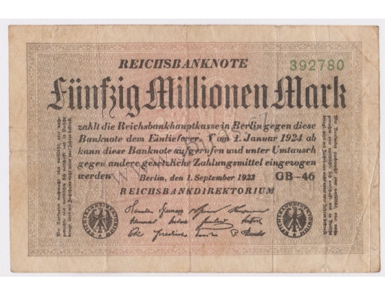 Německo - bankovka 50 millionen mark 1923