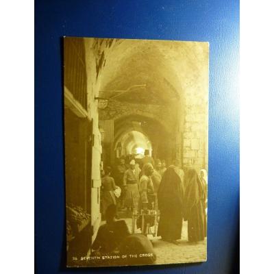 Asien - Postkarte Jerusalem, sieben Stationen mit dem Kreuz Jesu (1929)