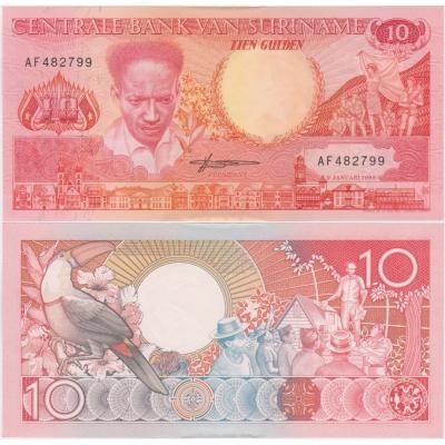 Surinam - bankovka 10 gulden 1988 aUNC