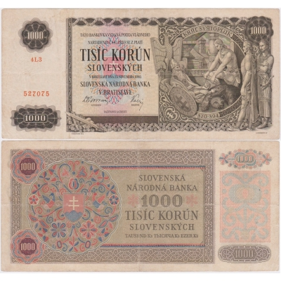 1000 korun 1940 neperforovaná