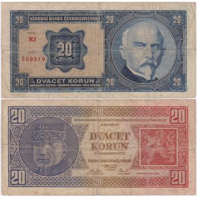 20 korun 1926 neperforovaná, série Rf