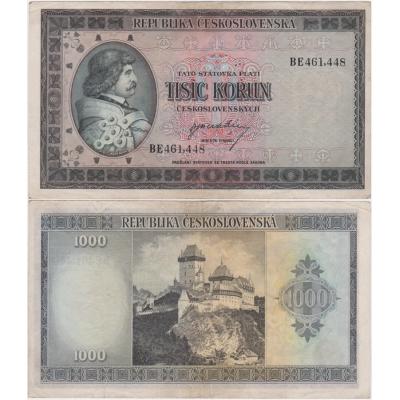 1000 korun 1945, neperforovaná, série BE