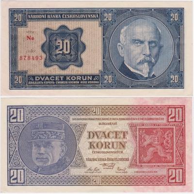 20 korun 1926 neperforovaná, série Ne