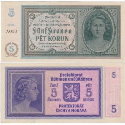 5 korun 1940 UNC, série A