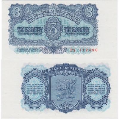 3 koruny 1953 UNC, série PS