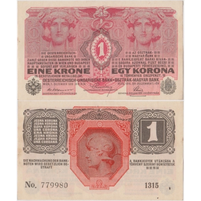 1 koruna 1916, série 1315 bez přetisku