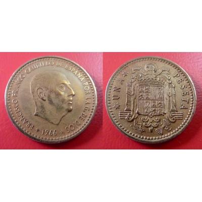 Španělsko - 1 peseta 1966, generál Franco
