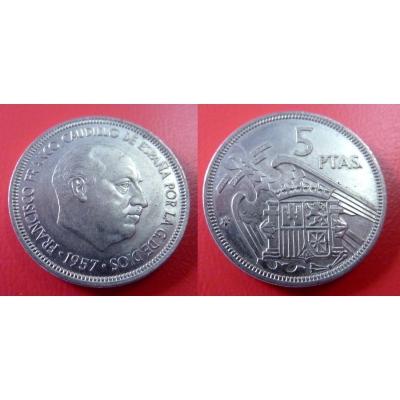 Španělsko - 5 pesetas 1957, generál Franco