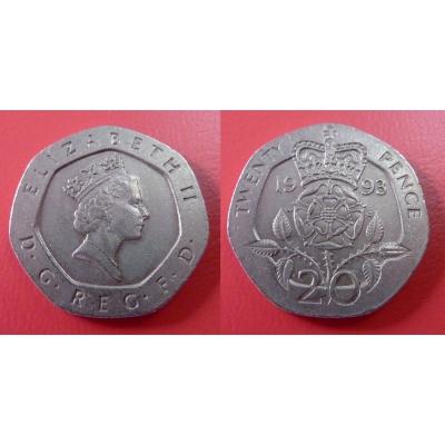 Velká Británie - 20 pence 1993