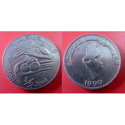 Tunisko - 1/2 dinar 1990