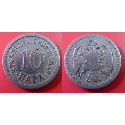 Srbsko - 10 para 1883