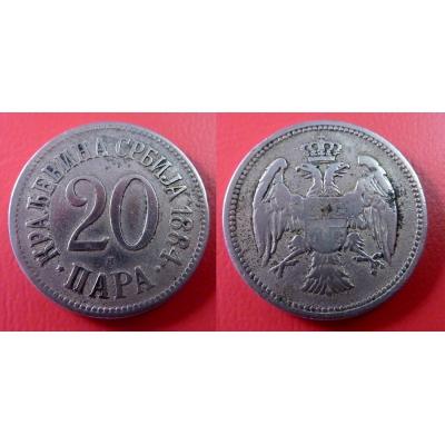 Srbsko - 20 para 1884 H