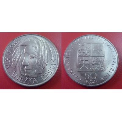 50 korun 1990 - První výročí svatořečení Anežky České